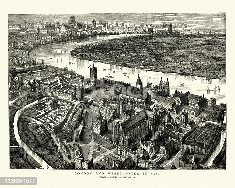 Vintage engraving of a Birds-eye view of Westminster, London in the 16th Century. 1584