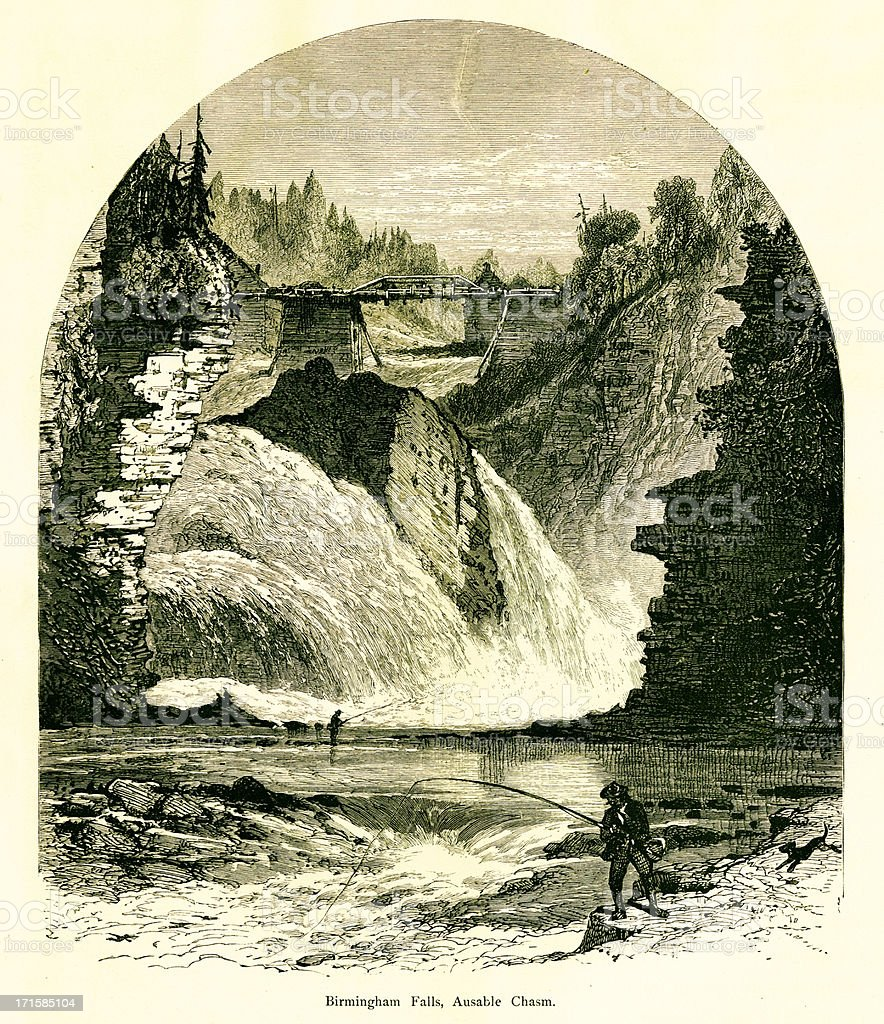 Birmingham Falls, Ausable Chasm, New York, wood engraving (1872) royalty-free stock vector art