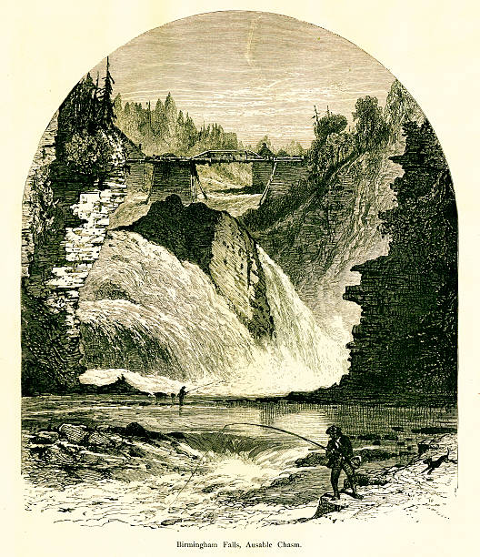Birmingham Falls, Ausable Chasm, New York, wood engraving (1872) vector art illustration