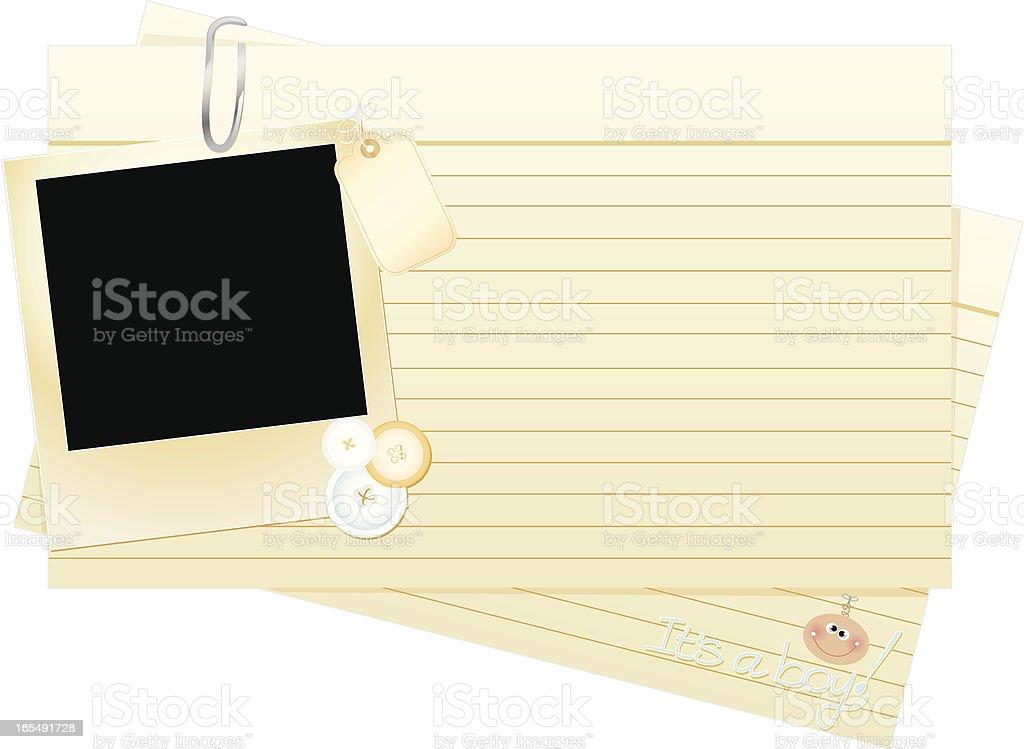 Birth Announcement Index Cards vector art illustration