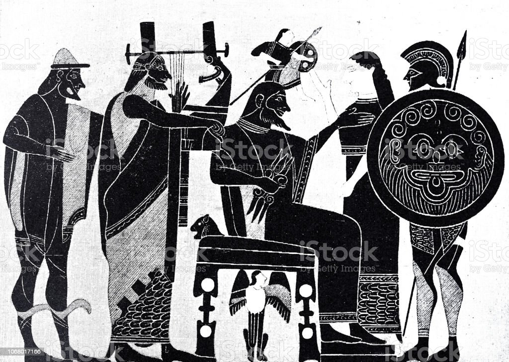 Birth of Athena from the head of Zeus vector art illustration
