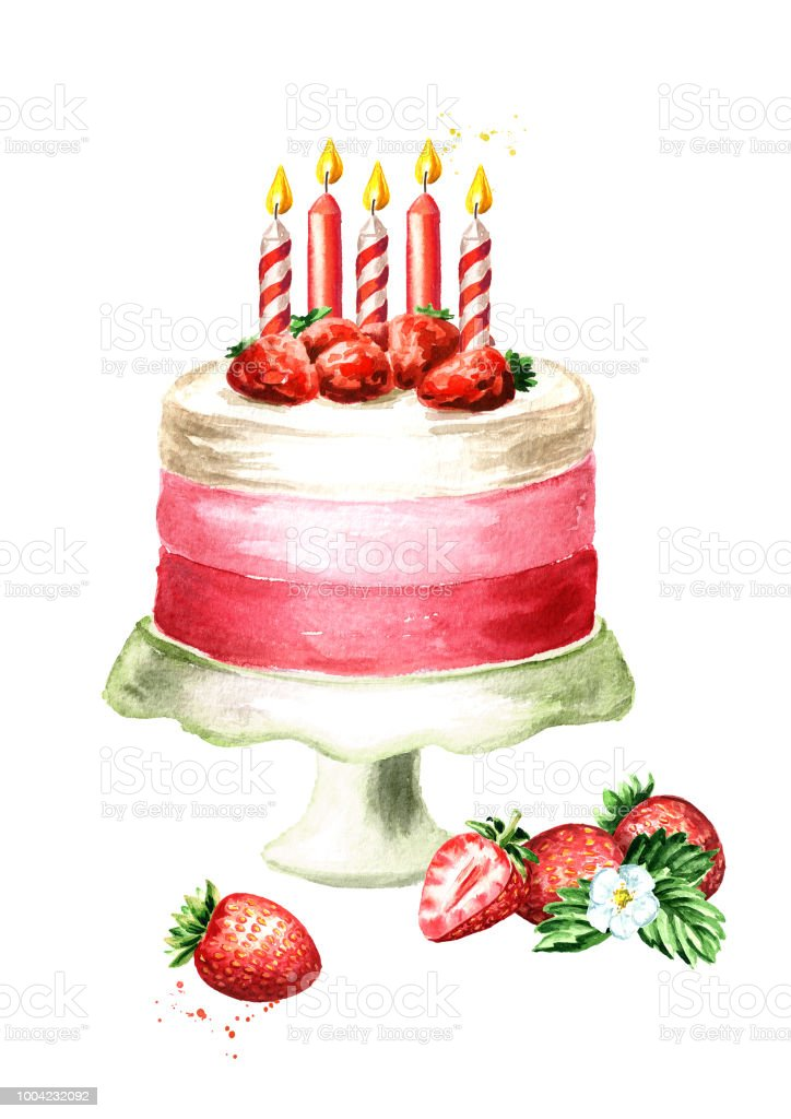 Birthday Cake With Decorative Candles Watercolor Hand Drawn
