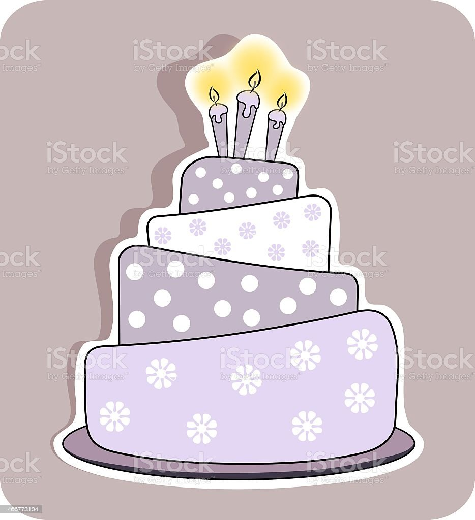 Birthday Cake With Three Lit Candles Isolated Stock Vector Art