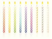 Vector illustration of festive colorful birthday candles