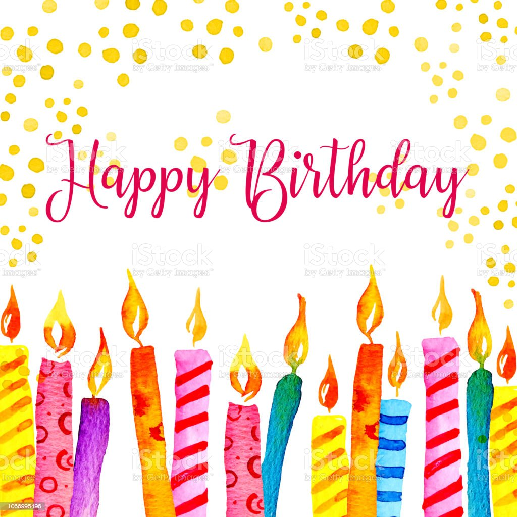 Birthday Card Design Template With Candles Decorations And Wishing Hand Drawn Cartoon Watercolor Sketch