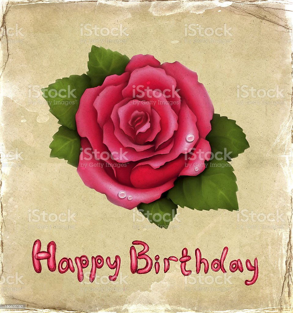 Birthday card with illustration of pink rose royalty-free stock vector art