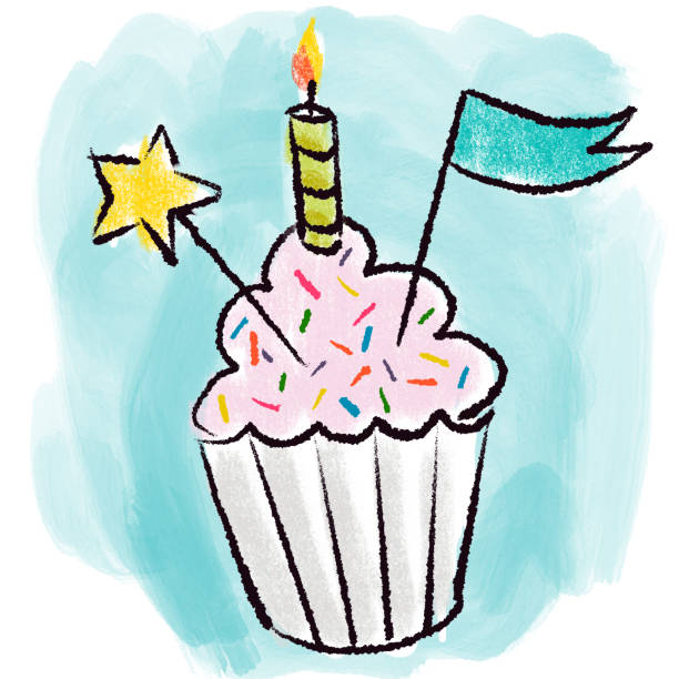 Birthday Cupcake Drawing Hand drawing birthday cupcake with candle kathrynsk stock illustrations
