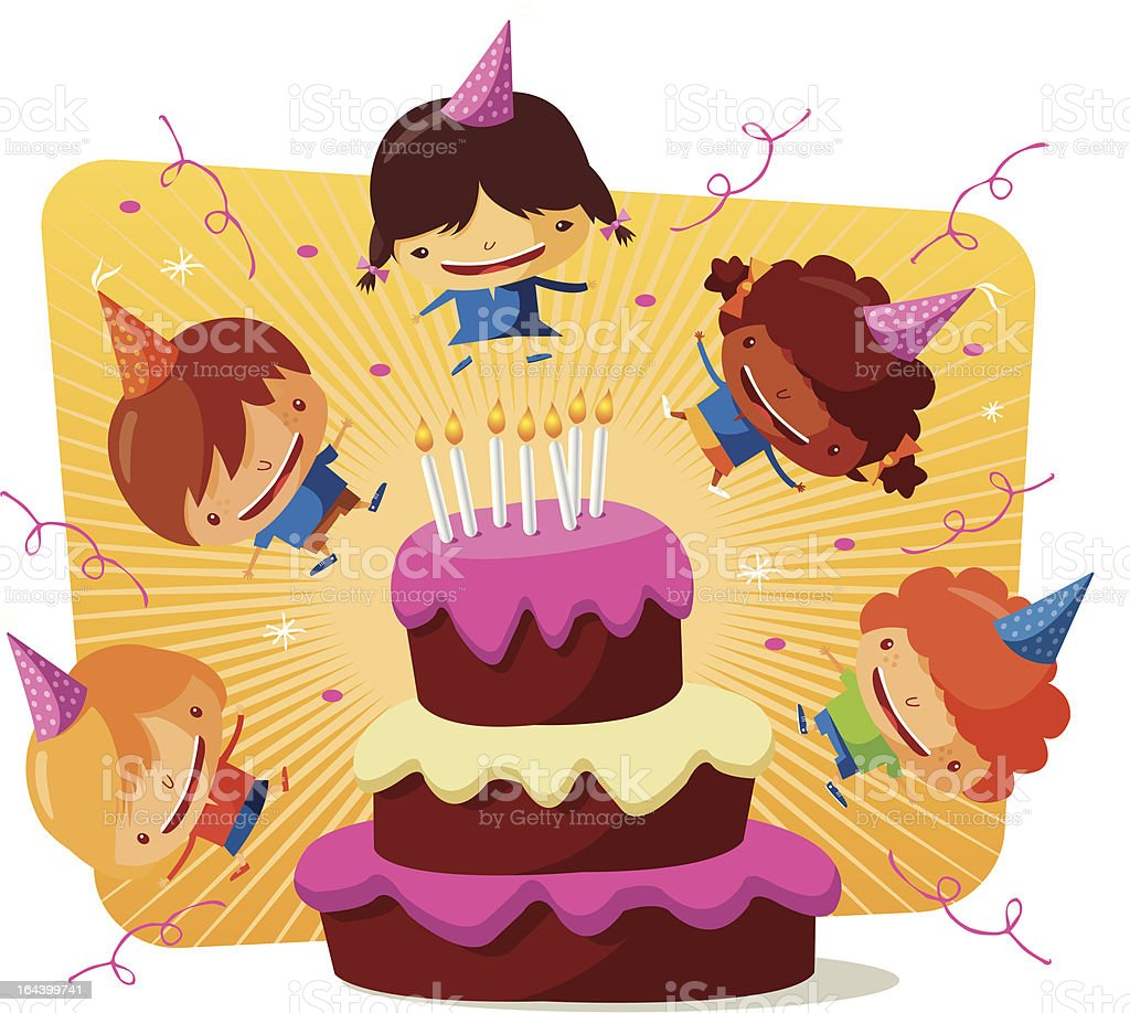 Birthday party - cake royalty-free birthday party cake stock vector art & more images of adolescence
