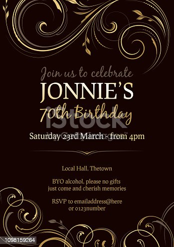 Invitation to a 70th birthday party