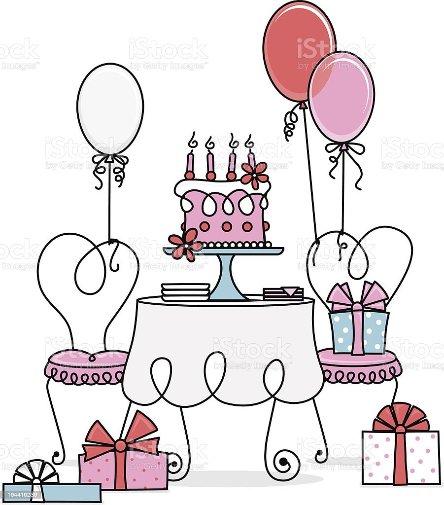Birthday Party Table vector art illustration