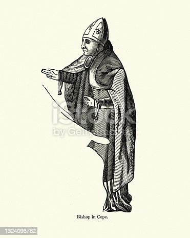 istock Bishop wearing a cope, History of fashion,  liturgical vestment 16th Century 1324098782