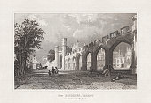 Historical view of the Bishop's Palace (Auckland Castle) in Durham, England. Steel engraving, published in 1860.