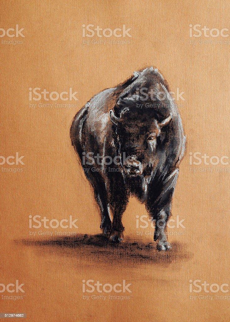 bison pastel drawing vector art illustration