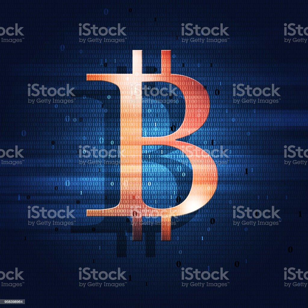 Bitcoin and Binary Code vector art illustration
