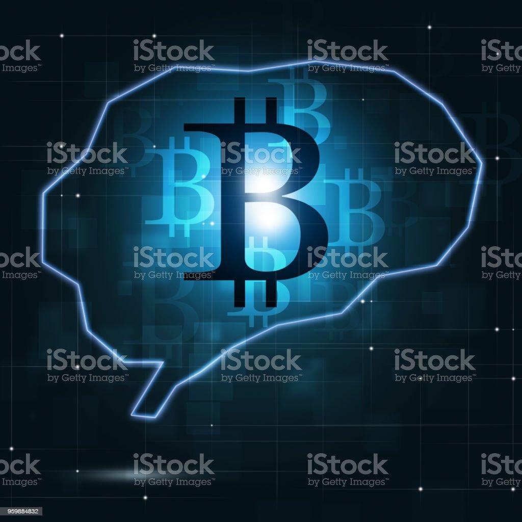 Bitcoin Crypto Currency in Human Brain vector art illustration