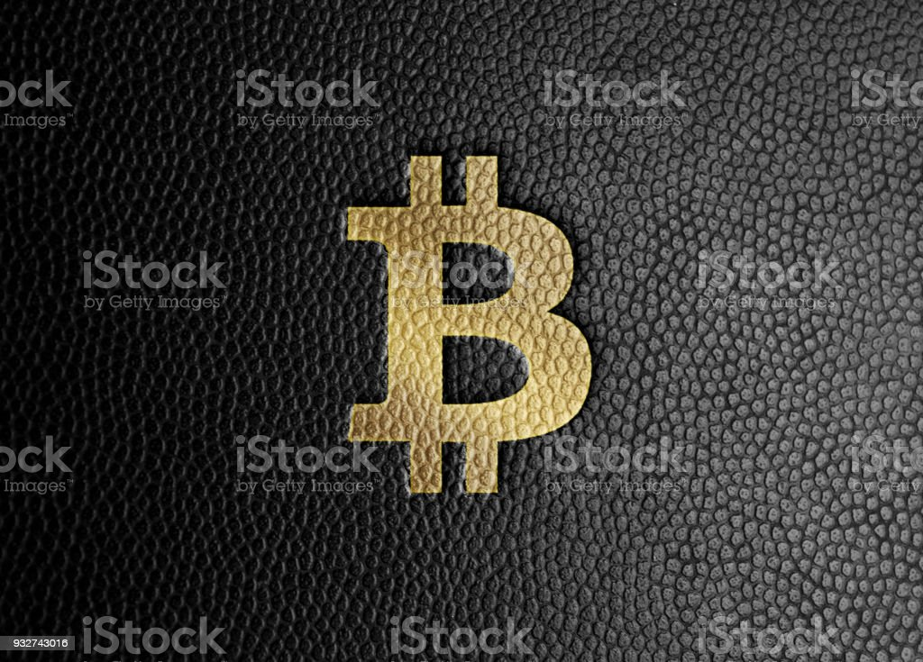 Bitcoin Design - Gold Symbol Stamped on Black Leather vector art illustration