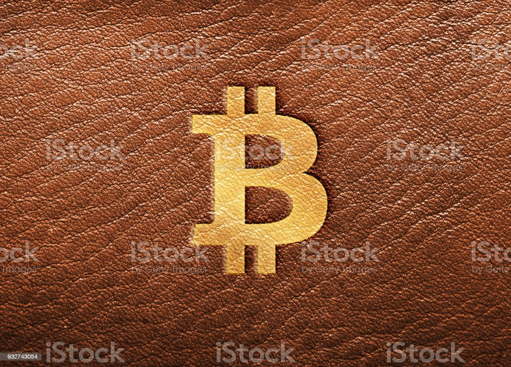 Bitcoin Design - Gold Symbol Stamped on Brown Leather vector art illustration