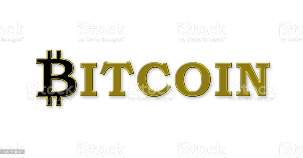 Bitcoin Gold Lettering Design vector art illustration
