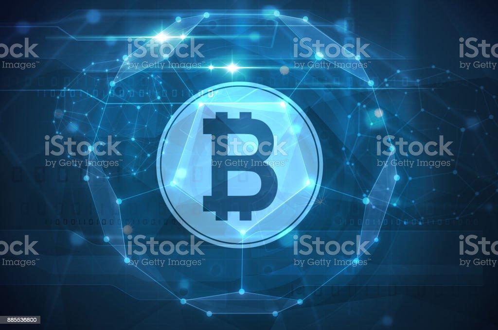 bitcoin symbol futuristic illustration vector art illustration