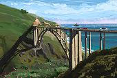 Big Sur Bridge California Ocean Road Costline CA-1 Drone Shot