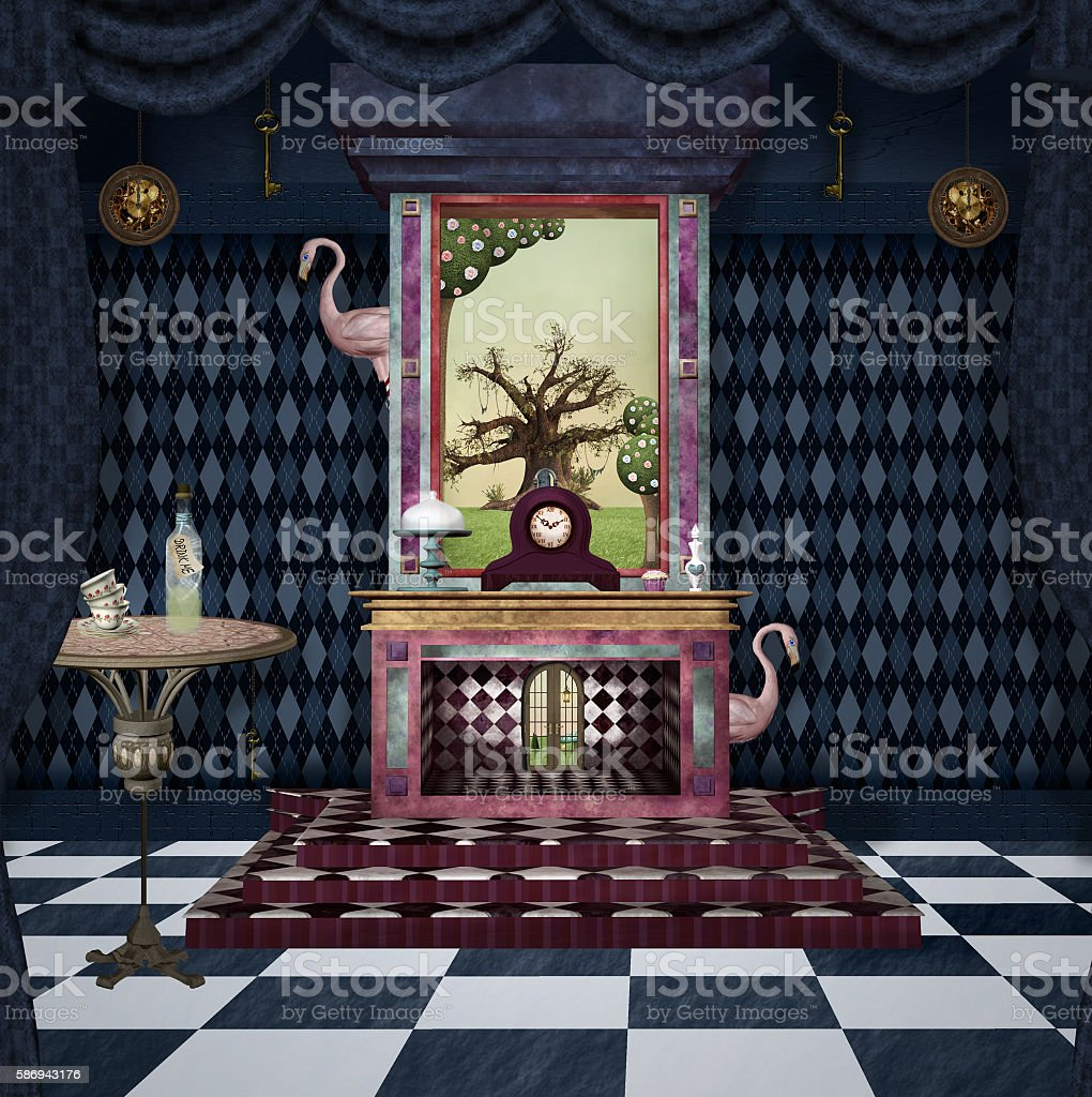 Bizarre room with fireplace and other stuff vector art illustration