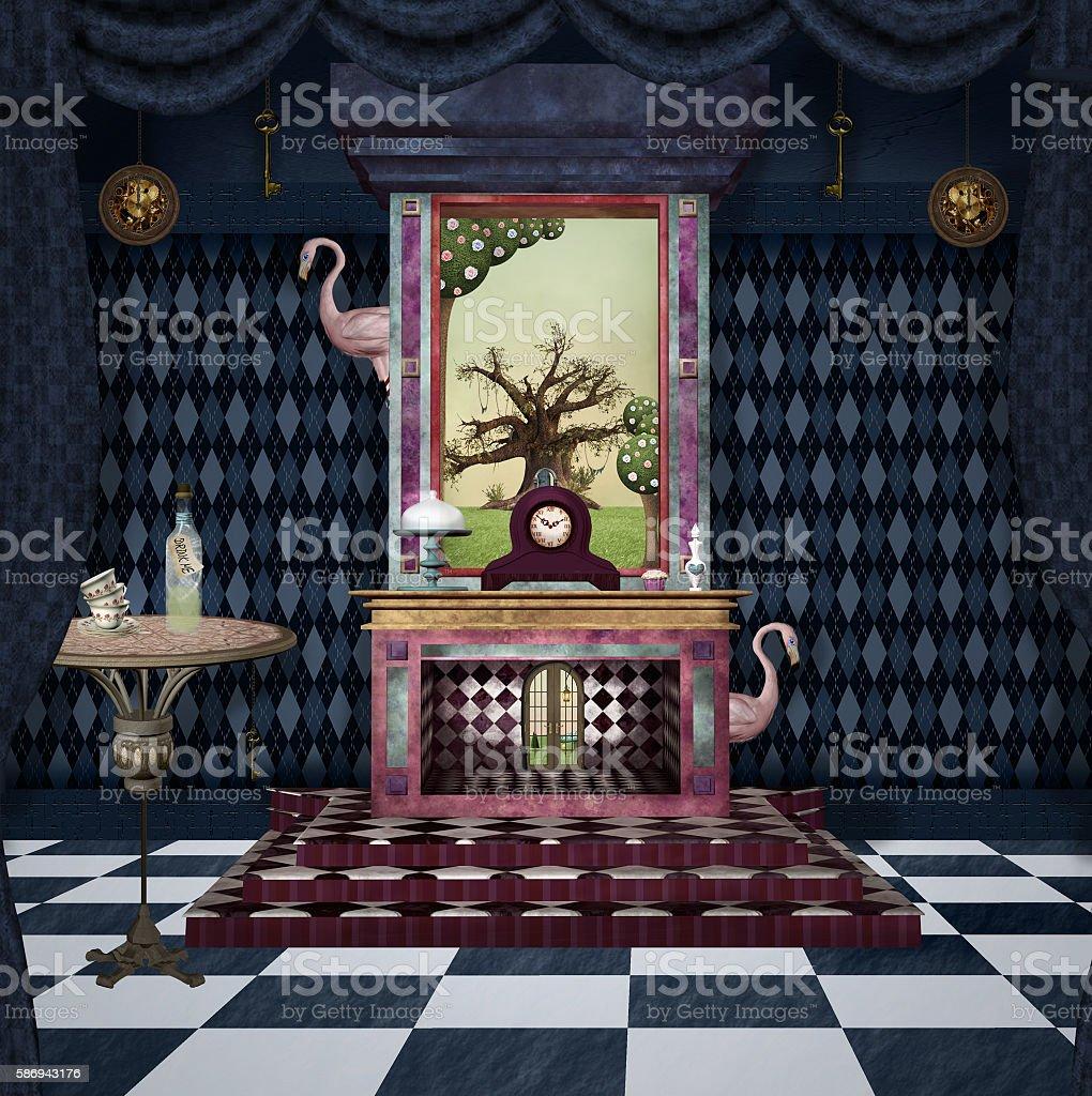 Bizarre room with fireplace and other stuff - illustrazione arte vettoriale