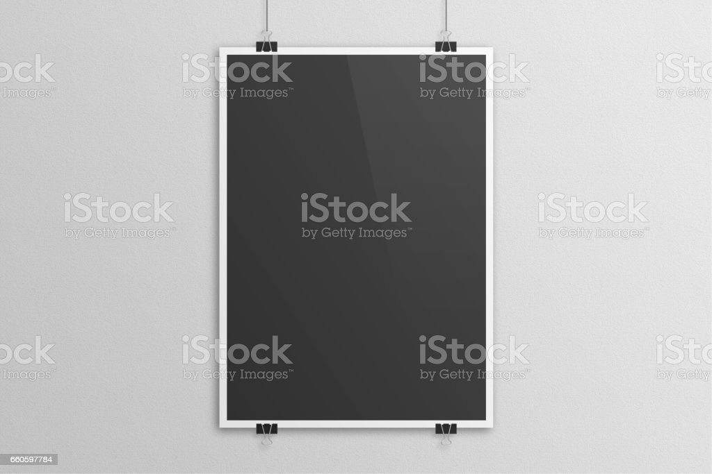 Black 3D illustration poster paper clip mockup with white frame royalty-free black 3d illustration poster paper clip mockup with white frame stock vector art & more images of backgrounds