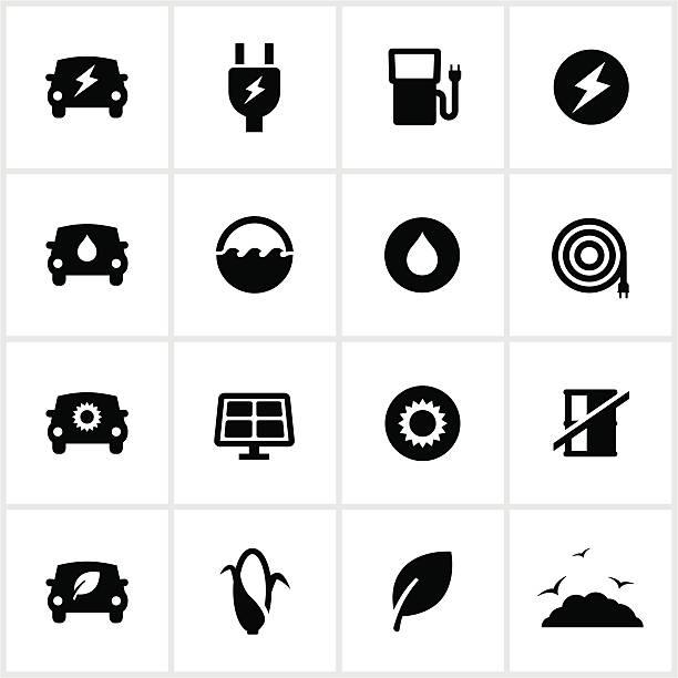 illustrazioni stock, clip art, cartoni animati e icone di tendenza di icone nero carburante alternativo - pila a idrogeno