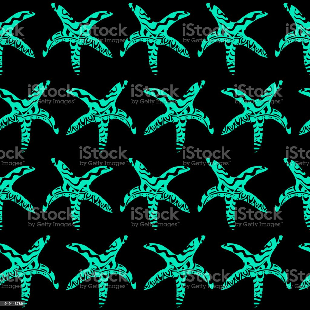 Black And Blue Pattern With Ornamental Starfish vector art illustration