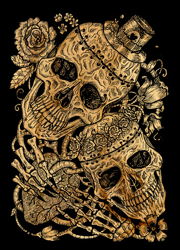 Black and gold  illustration with two skulls of lovers holding heart, decorated with flowers.