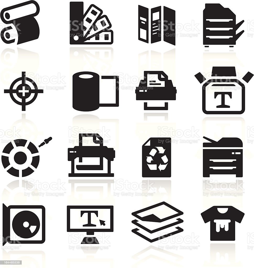 Black and layered transparency of print icons vector art illustration