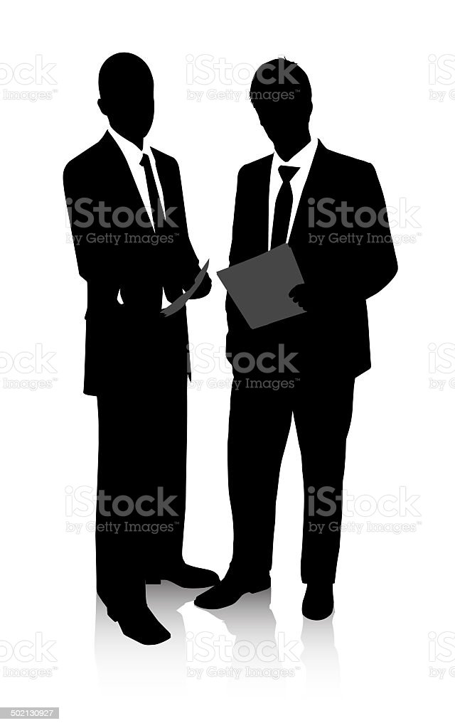 Black and whit business deal vector art illustration
