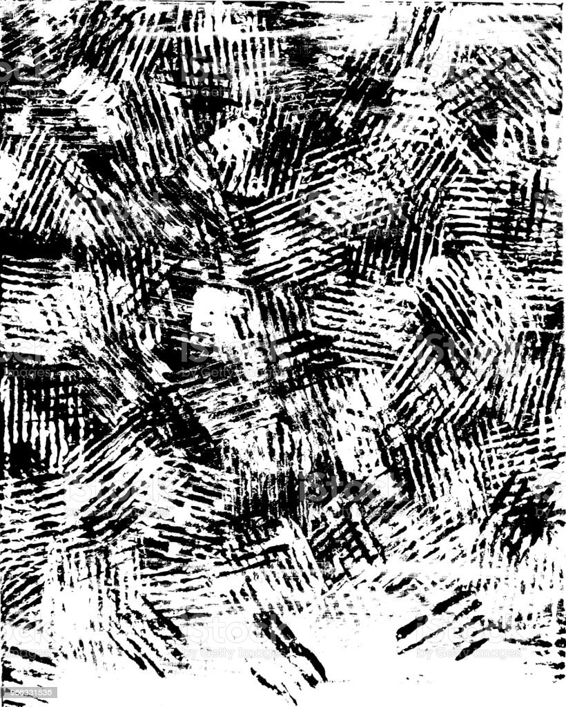 Black and White Abstract Paint Marks as Background Image Texture vector art illustration