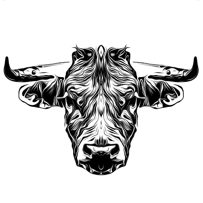 black and white bull art logo
