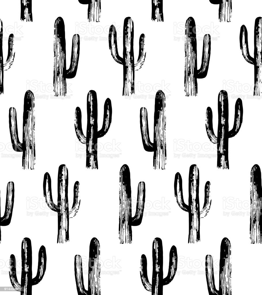 Black and white cactus. Sketch pattern. vector art illustration