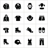 Department store clothing icons. All white strokes/shapes are cut from the icons and merged allowing the background to show through.