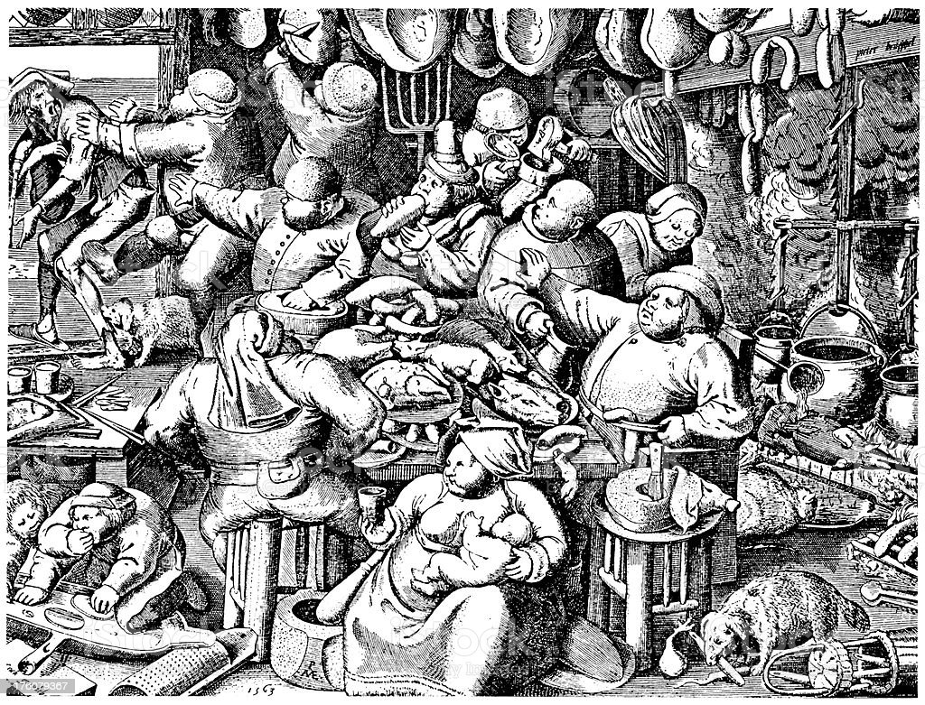 Black And White Drawing Of A Medieval Kitchen Royalty Free
