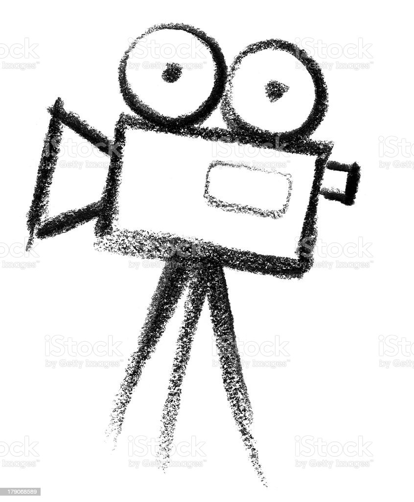 Black and white drawing of a movie camera icon vector art illustration