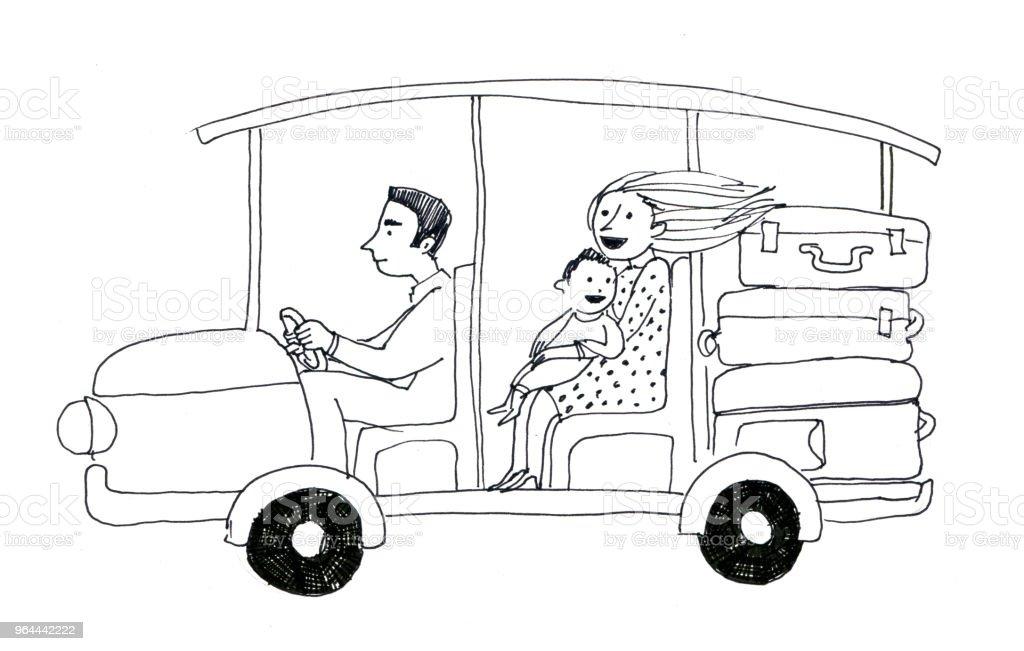 Zwart-wit elektrische auto met familie en koffer. Het hotel stuurprogramma uitvoert een toeristische vrouw met baby- en koffers - Royalty-free Attaché Stockillustraties