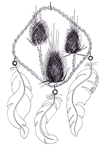 black and white graphic drawing of a dreamcatcher with prickly plants