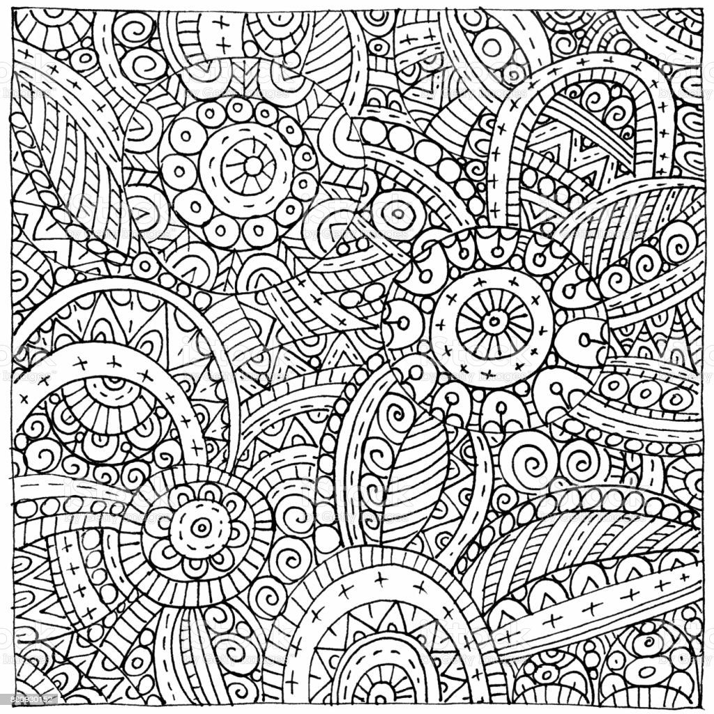 Black and white graphics with abstract hand-drawn pattern vector art illustration
