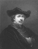 Rembrandt on engraving from the 1850s. Dutch painter and etcher. One of the greatest painters and printmakers. Engraved by R. Woodman and published in London by Charles Knight, Ludgate Street & Pall Mall East.