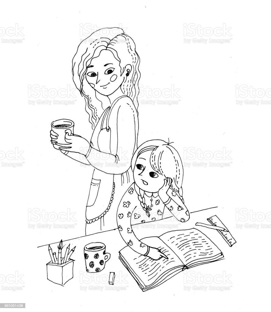 Noir Et Blanc Illustration Pour Livre De Coloriage Petite Fille