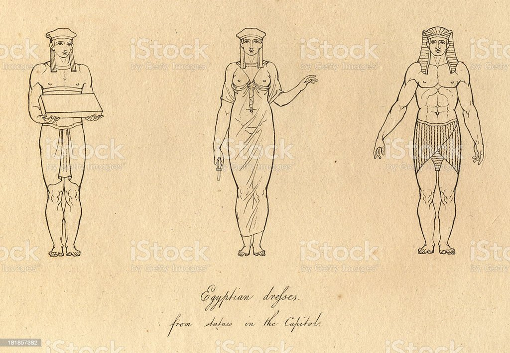Black and White Illustration of Ancient Egyptian Costumes, From 1812 royalty-free stock vector art