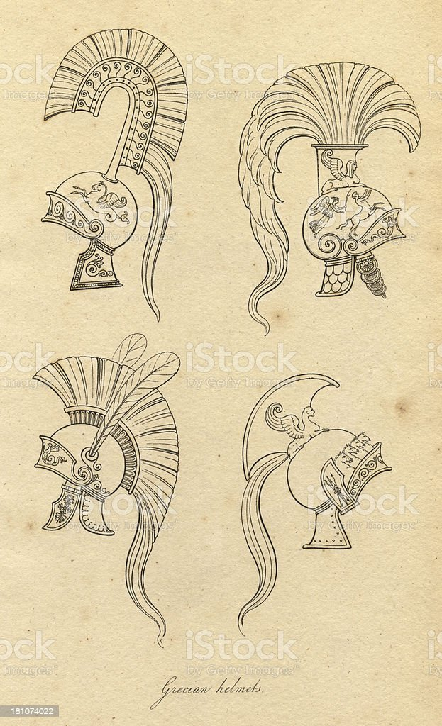 Black and White Illustration of Ancient Grecian Helmets royalty-free stock vector art