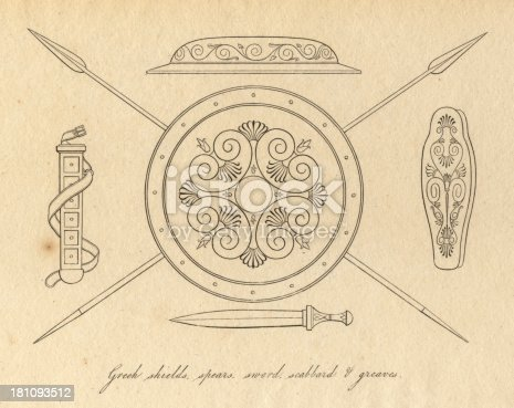 Old, black and white illustration of ancient Greek shields, spears, sword, scabbard, and greaves.