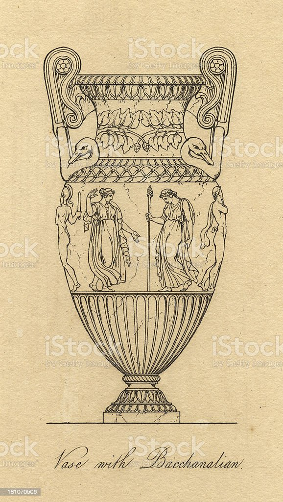 Black and White Illustration of Beautifully Decorated Ancient Greek Vase royalty-free stock vector art