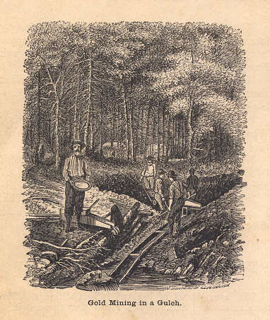 Black and White Illustration of Gold Mining In Gulch, 1800's