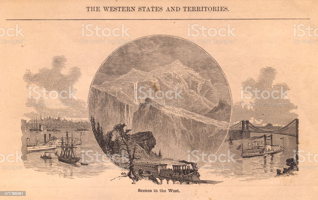 Black and White Illustration of Scenes in the Old West vector art illustration