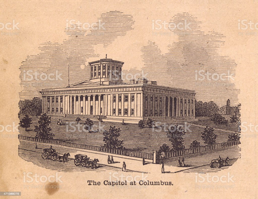 Black and White Illustration of the Capitol at Columbus, 1800's vector art illustration